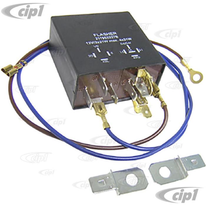 VWC-211-953-227-B - (211953227B) TURN SIGNAL FLASHER / EMERGENCY RELAY 12 VOLT - 9 PIN BLACK BOX - BUG/GHIA 67-68 - BUS 67-68 - SOLD EACH