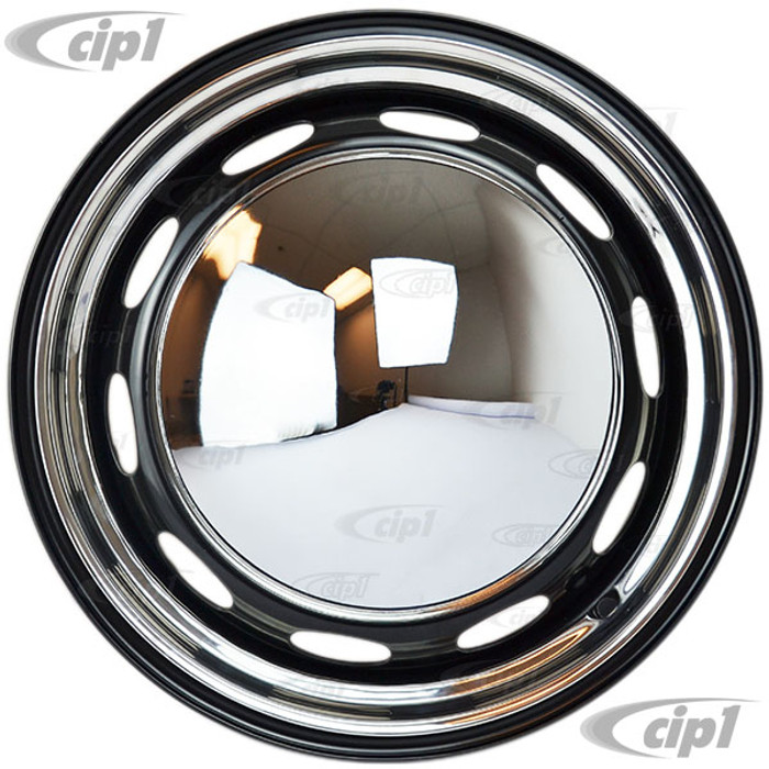 ACC-C10-6620-MB-KIT - SEMI-GLOSS BLACK 5X205MM 5 BOLT STEEL WHEEL PACKAGE - YOUR CHOICE OF WIDTHS - 15-INCH - COMES WITH MOON HUBCAPS & TRIM RINGS - SET OF 4