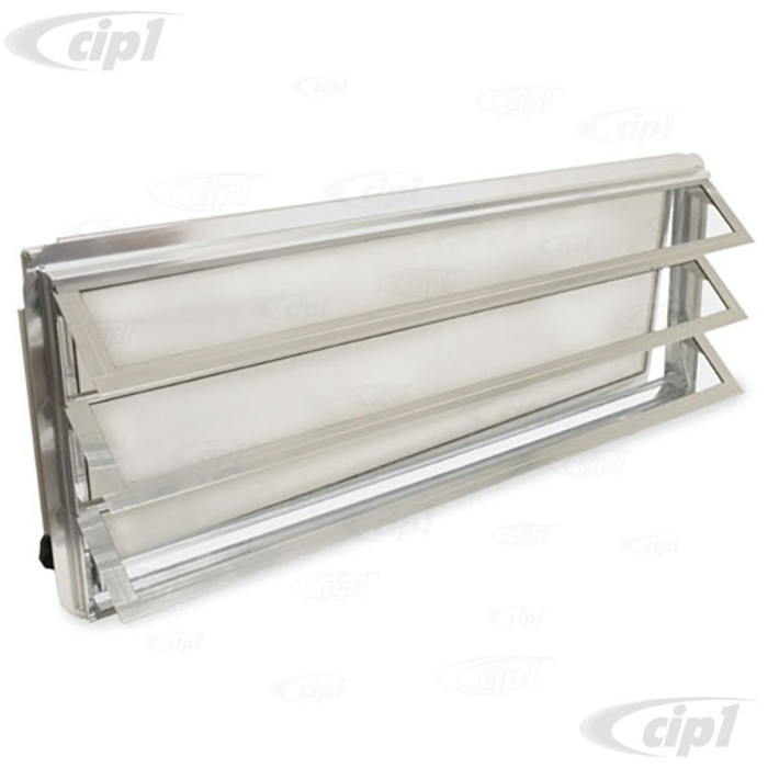 VWC-231-845-711 - (231845711 231069105) - EXCELLENT REPRODUCTION - WESTFALIA LOUVERED WINDOW ASSEMBLY WITH FLY SCREEN - WITH SEAL AND CRANK KNOB ON INSIDE RIGHT - VEHICLE LEFT SIDE (LHD) - BUS 68-79 - SOLD EACH