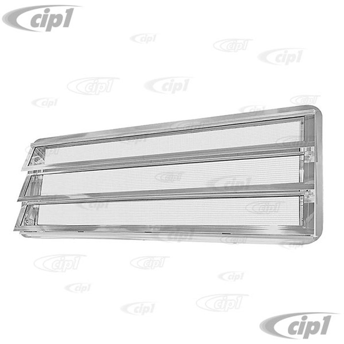 VWC-231-845-712 - (231845712 231069105) - EXCELLENT REPRODUCTION - WESTFALIA LOUVERED WINDOW ASSEMBLY WITH FLY SCREEN - WITH SEAL AND CRANK KNOB ON INSIDE LEFT - VEHICLE RIGHT SIDE (LHD) - BUS 68-79 - SOLD EACH