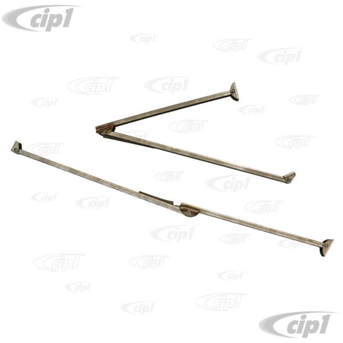 VWC-231-999-071-A - (J40447) EXCELLENT REPRODUCTION FROM THE U.K. - WESTFALIA POP-TOP STAINLESS STEEL ROOF SUPPORT ROD/HINGE ASSEMBY WITH SPRINGS (POP-TOP OPENS FROM REAR) READ SPECIALS NOTES BEFORE PURCHASING - BAY WINDOW BUS T2 68-73 - SOLD SET