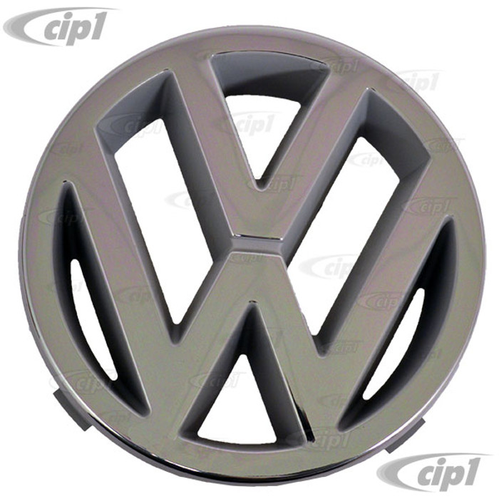 VWC-251-853-601 - (251853601) GENUINE GERMAN - CHROME VW FRONT GRILL EMBLEM - 125MM DIAMETER (SPECIAL NOTE: THESE HAVE SLIGHT SCRATCHES AND NICKS - THESE ARE SECOND QUALITY - SOLD AS IS ALL SALES FINAL) - VANAGON 86-91 - SOLD EACH