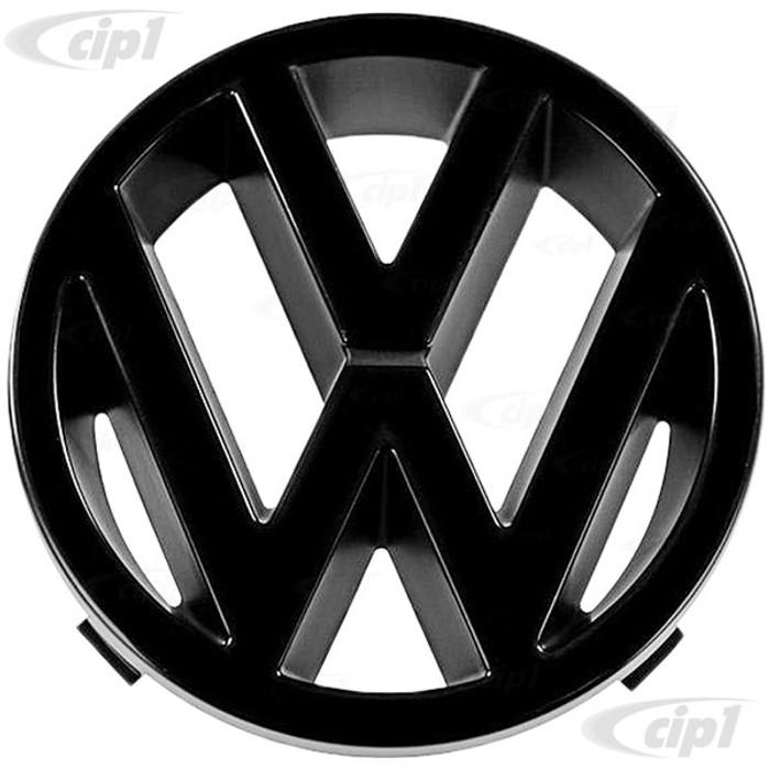 VWC-251-853-601-A - (251853601A) GENUINE GERMAN VW - ALL BLACK VW FRONT GRILL EMBLEM - 125MM DIAMETER - VANAGON 86-91 - SOLD EACH