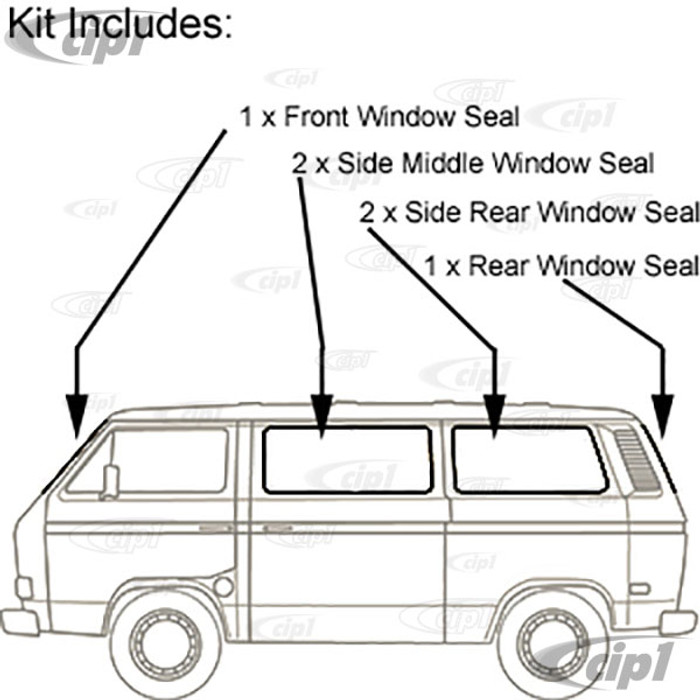 VWC-255-898-121 - (255-845-121 255845121) GENUINE GERMAN - COMPLETE 6 PIECE WINDOW SEAL KIT WITH MOLDED CORNERS - WITH GROOVE FOR CHROME TRIM (SOLD SEP. C16-175-345) - VANAGON 80-84 - SOLD SET