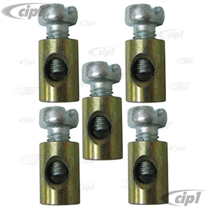 VWC-311-129-777-SET - SET OF 5 - BARREL CLAMPS FOR ACCELERATOR & HEATER CABLES - ALL MODELS - SET OF 5 CLAMPS