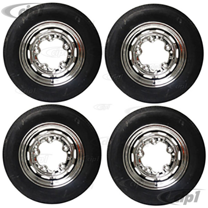 ACC-C10-6621-KIT - COMPLETE CHROME 5x205 WHEEL AND TIRE PACKAGE (15 X 5 1/2 - 4-1/4 INCH BACK SPACING) (165/80R15 NANKANG STEEL BELTED RADIAL TIRES) 4 WHEELS WITH TIRES, MOUNTED & BALANCED WITH MATCHING CHROME VALVE STEMS. READY TO BOLT ON AND DRIVE.
