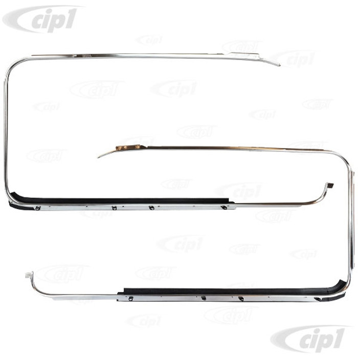 VWC-311-853-321-2 - (311853321 311-853-322 311853322) PAIR OF OUTER WINDOW TRIM FRAMES AND SCRAPERS - LEFT & RIGHT - FRONT DOORS - TYPE-3 62-73 - SOLD PAIR
