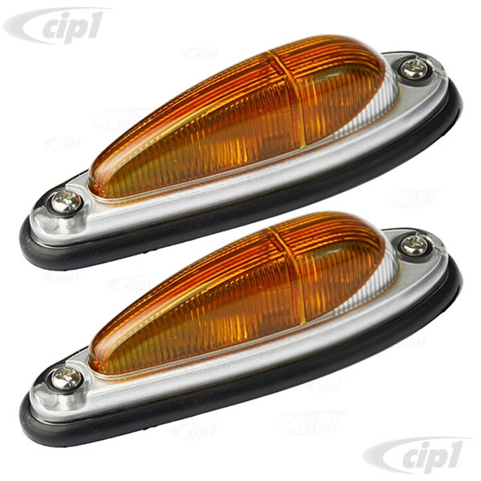 VWC-311-949-101-AMPR - (311949101A 644-631-405-06) GERMAN - EURO STYLE SIDE MARKERS COMPLETE WITH GASKETS - AMBER LENS WITH SILVER/CLEAR BORDER -  90MM LONG UNIVERSAL - TYPE-3 EURO MODELS - 356 PORSCHE - SOLD PAIR