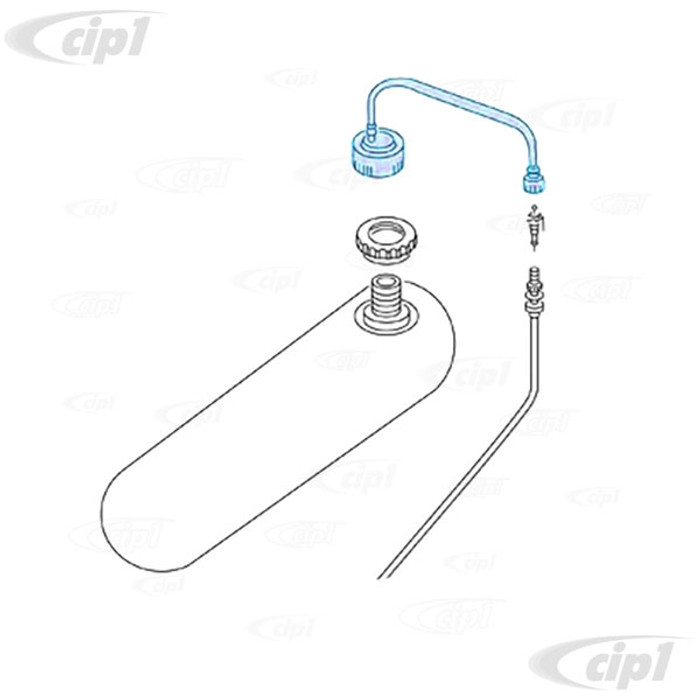 VWC-311-955-979-C - (311955979C) EUROPEAN PRODUCTION - WINDSHIELD WASHER TANK PRESSURE HOSE WITH CAP AND VALVE (205MM / 5.25 INCH LONG) - SUPER BEETLE ONLY 71-79 - SOLD EACH