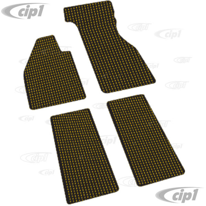 VWC-ZVW2BYL - GOLD AND BLACK COCO MAT SET - CUSTOM TAILORED WITH VINYL EDGING AND LATEX BACKING (FITS CARS WITH METAL FOOT REST) - BEETLE 60-72 - SOLD SET OF 4