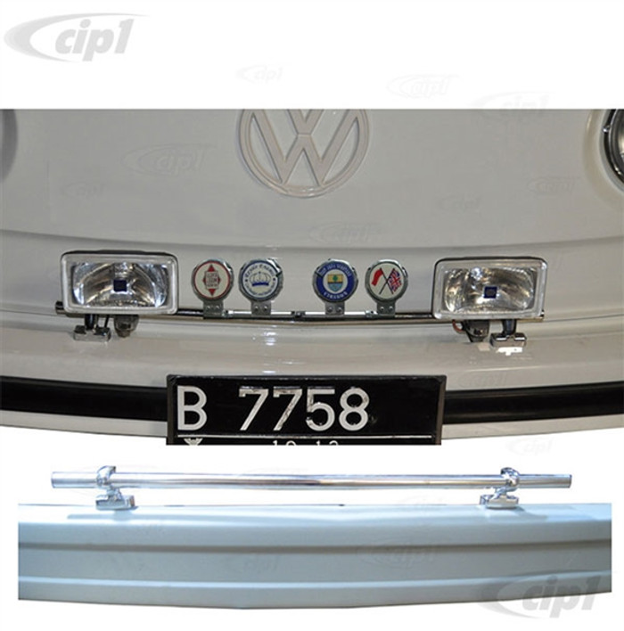 VWC-ZVW70001 - STAINLESS STEEL EUROPEAN STYLE FRONT BUMPER BADGE AND LIGHT BAR WITH CHROMED BRACKETS - FITS BUS 52-79 - SOLD KIT