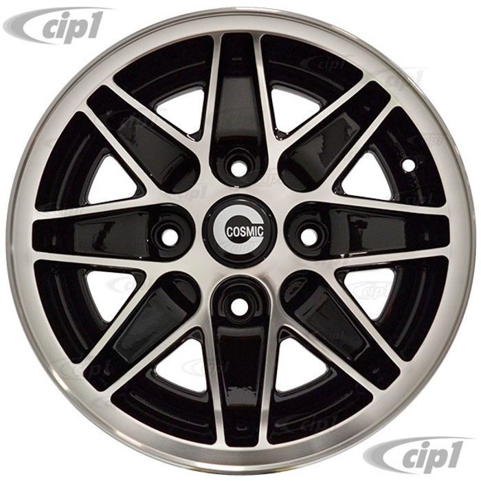 C32-COS-5515-4130B - COSMIC ROAD WHEEL - BLACK - 15 INCH X 5.5 INCH WIDE - 4 BOLT X 130MM PATTERN - BEETLE 68-79 / GHIA 68-74 / TYPE-3 66-73 - HARDWARE SOLD SEP. - SOLD EACH