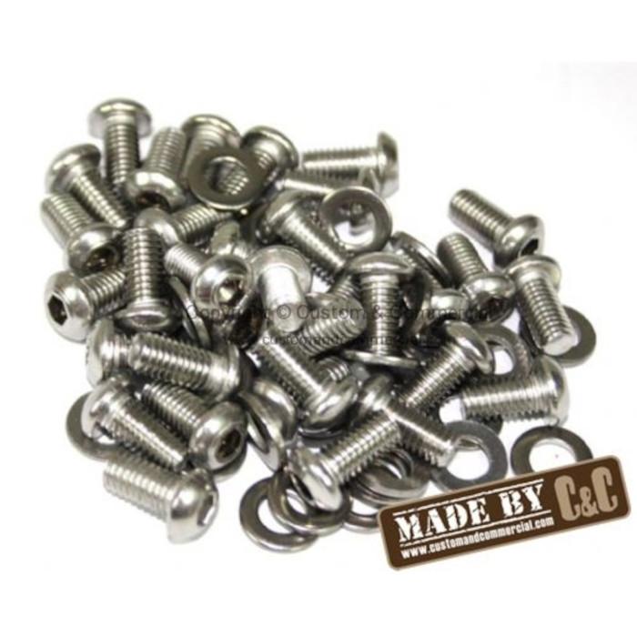 C33-S30965 - (17-2960 N0107108A VHD-NST-6126) - GERMAN QUALITY FROM C&C U.K. - STAINLESS STEEL ALLEN HEAD ENGINE TIN/SHROUD SCREW KIT - 34 SCREWS WITH WASHERS - SOLD SET