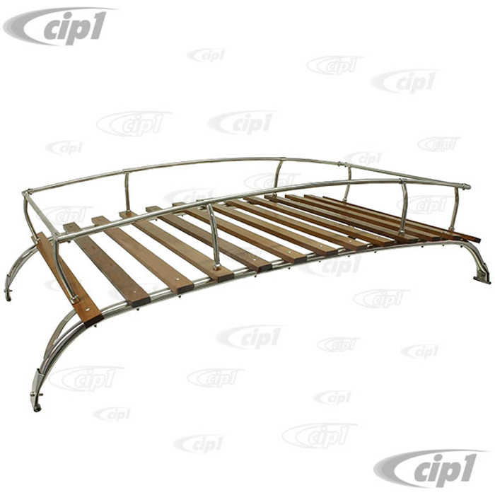 C13-15-2011-2SS - STAINLESS STEEL 2 BOW ROOF RACK WITH WOOD SLATS - BUS T2 50-79 - SOLD EACH