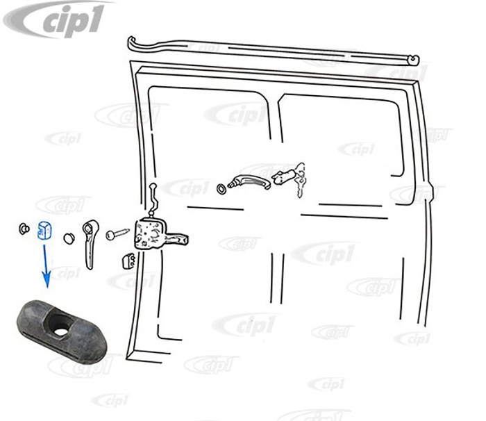 VWC-211-843-471 - (211843471) MADE IN GERMANY - SLIDING DOOR FRONT CENTERING WEDGE BUMP STOP - BUS 68-79 / VANAGON 80-84 - SOLD EACH