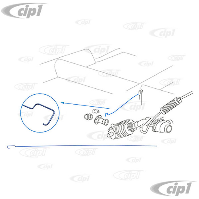 VWC-311-255-547-PR - (311255547) - GERMAN - PAIR OF LEFT AND RIGHT REAR HEATER CABLE PULL RODS UNDER BACK SEAT - BEETLE/GHIA 65-77  - TYPE-3 64-72 - VW THING 74-79 - SOLD PAIR