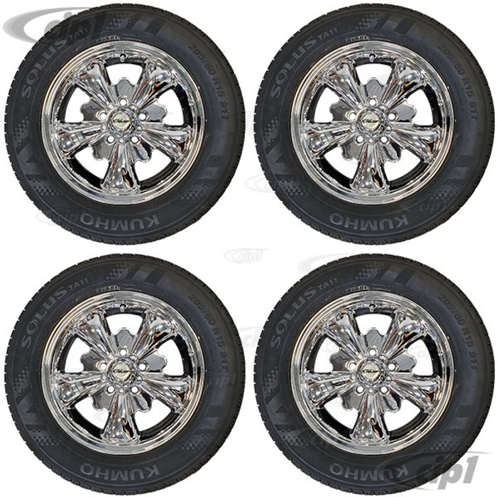 C32-E251C-SET - COMPLETE 5 SPOKE ALUMINUM WHEEL AND TIRE PACKAGE (SOME SMALL SCRATCHES ARE VISIBLE)  – FULL CHROME FINISH – 5.5 INCH WIDE X 15 INCH DIA. – 5X112MM BUS 71-79 / VANAGON 80-92 – MOUNTED & BALANCED WITH CHROME STEMS INCLUDED – SOLD SET