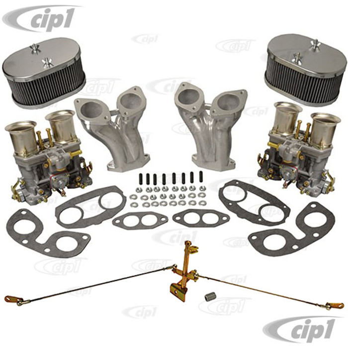 C10-47-7317-CIP - CIP1 EXCLUSIVE - COMPLETE DUAL 40MM/44MM OR 48MM WEBER IDF/HPMX STYLE CARBURETOR KIT WITH EASY-ADJUST GERMAN CENTER PULL LINKAGE - FITS BEETLE/GHIA/BUS UPRIGHT ENGINES - SOLD KIT
