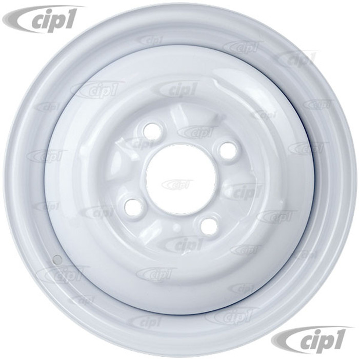 ACC-C10-6622-SMWH - STOCK SMOOTHIE 4X130MM 4 BOLT STEEL WHEEL - PAINTED WHITE - 15X4-1/2 (4-1/2 INCH BACK SPACING) HUBCAP SOLD SEPARATELY - BEETLE 68-79 GHIA 67-74 TYPE-3 67-73 - SOLD EACH