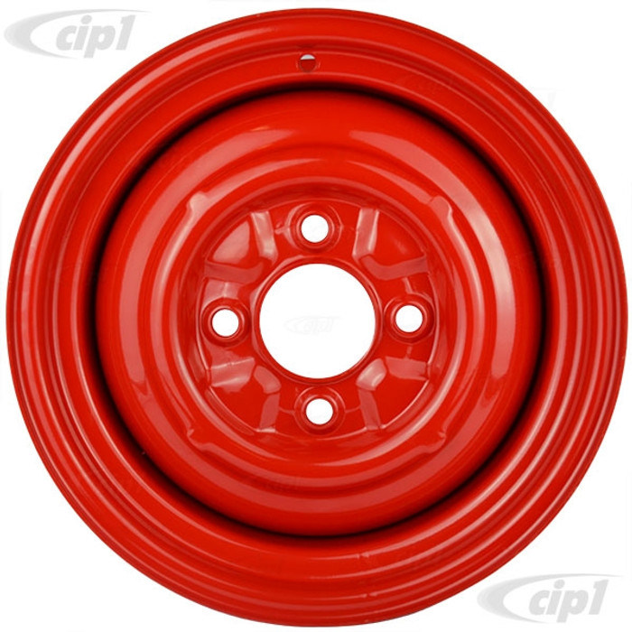 ACC-C10-6623-SMRD - STOCK SMOOTHIE 4X130MM 4 BOLT STEEL WHEEL - HOT ROD RED - 15X5-1/2 (4-1/4 INCH BACK SPACING) HUBCAP SOLD SEPARATELY - BEETLE 68-79 GHIA 67-74 TYPE-3 67-73 - SOLD EACH