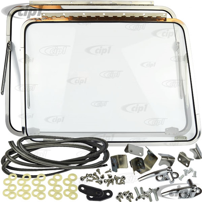 ACC-C20-1010 - NICE REPRODUCTION QUALITY - FRONT SAFARI WINDOW KIT - COMPLETE KIT WITH POLISHED STAINLESS STEEL FRAMES/GLASS/LATCHES/HINGES/SEALS AND HARDWARE (SEE NOTES) - BUS 55-67 - SOLD KIT