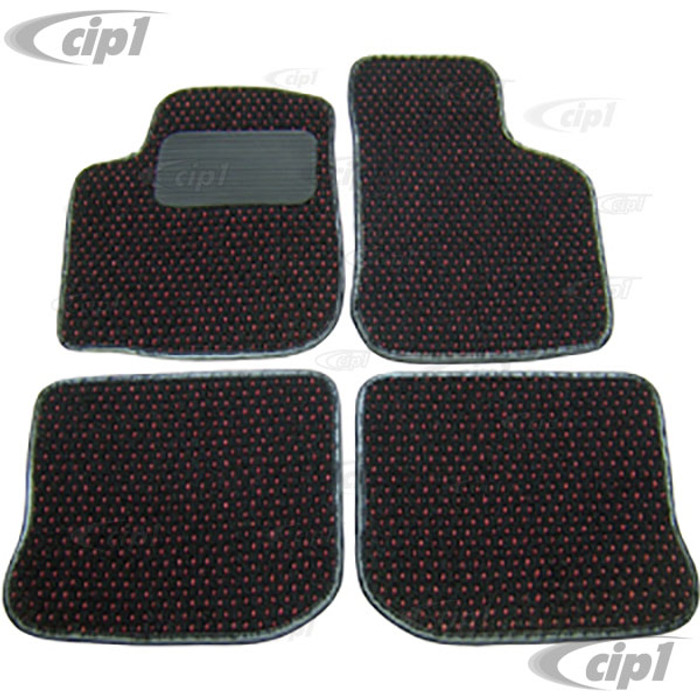 ACC-C30-3772 - RED & BLACK COCO FLOOR MAT SET - 4 PIECE - FITS NEW BEETLE 1998-2006 - (A10)