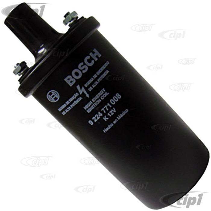 BOS-0-221-119-027-MX - (9224771008) GENUINE BOSCH MEXICO - BLACK 12 VOLT COIL - WITHOUT BRACKET - ALL MODELS 67-83 - SOLD EACH
