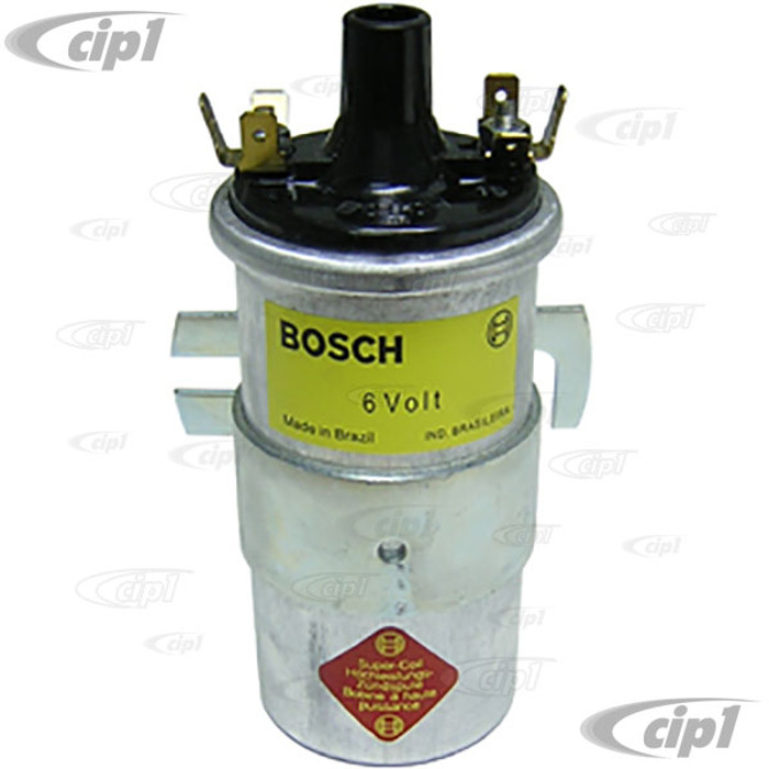 BOS-0-221-124-001 - BOSCH 00016 6-VOLT IGNITION COIL - ALL VW AND PORSCHE MODELS UP TO 1966 (SILVER BODY) - SOLD EACH