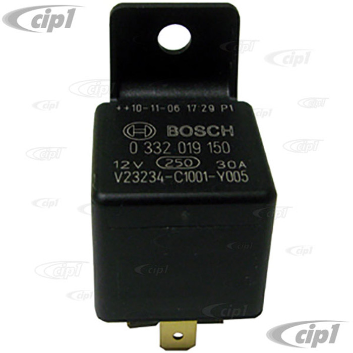 BOS-0-332-019-150 - GENUINE BOSCH - RELAY - 12 VOLT/40 AMP MULTI PURPOSE 5 TERMINAL RELAY- VARIOUS APP. - FUEL PUMP TYPE-3 68-73 - REAR DEFROSTER FOR BEETLE/GHIA/TYPE-3 67-79 (SEE VWC-171-937-503 FOR ALTERNATE)