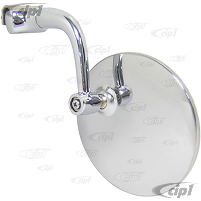 C11-5001-1 - UNIVERSAL 4 INCH ROUND - DRIP RAIL MOUNT MIRROR-STAINLESS STEEL HEAD & CHROME ARM-LEFT OR RIGHT (SEE SPECIAL NOTE ABOUT MOUNTING)