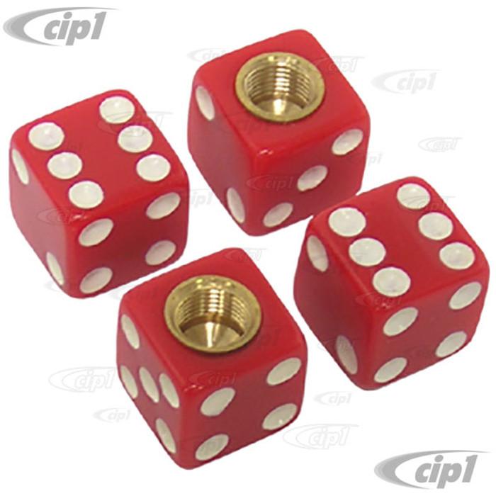 C11-70005 - RED DICE VALVE STEM CAPS - SET OF 4