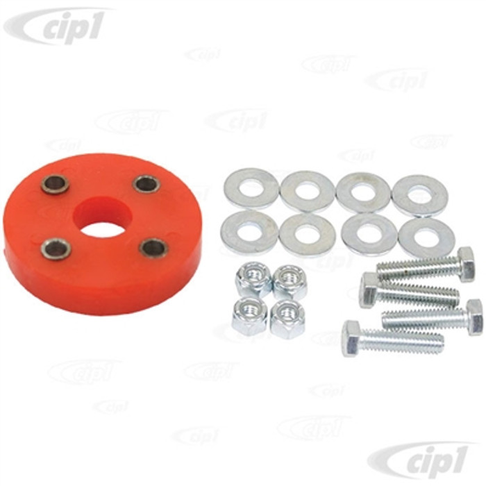 C12-5547-13 - BUGBACK (16-5150) - RED URETHANE STEERING COUPLER WITH HARDWARE - STANDARD BEETLE 46-77 / GHIA 56-74 / THING 73-74 - TYPE-3 62-74 - SOLD EACH