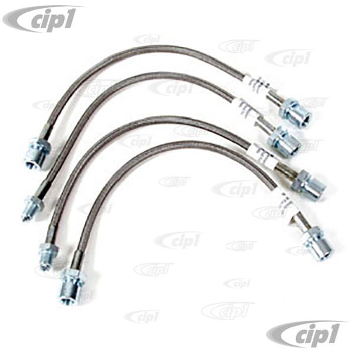 C12-5585-16 - STAINLESS STEEL BRAIDED 4 PIECE BRAKE HOSE KIT - 2 X 340MM FRONT F/F ENDS  PLUS 2 X 235MM REAR M/F ENDS - ALL SUPER BEETLE - SOLD 4 PIECE SET