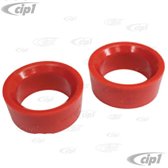 C12-6588-13 - EMPI - RED URETHANE REAR TORSION BAR ROUND GROMMET/BUSHING - 1-7/8 INCH I.D. - SMALL O.D. - BEETLE 50-59 - SOLD PAIR