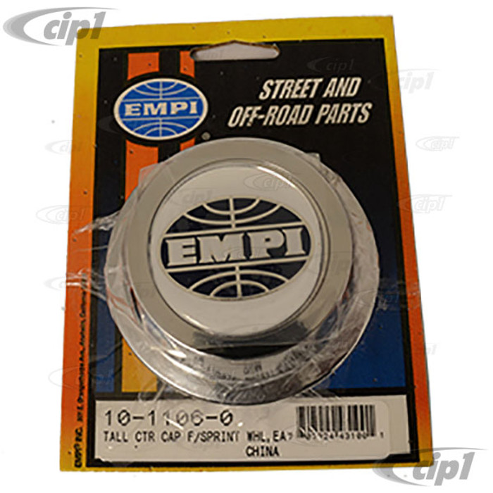 C13-10-1106 - EMPI - EXTRA TALL REPLACEMENT CHROME (PLASTIC) CENTER CAP - FITS ALUMINUM REPRODUCTION SPRINT STAR / 2-LITRE 914/RIVIERA WHEELS - FITS 65MM HOLE - SOLD EACH