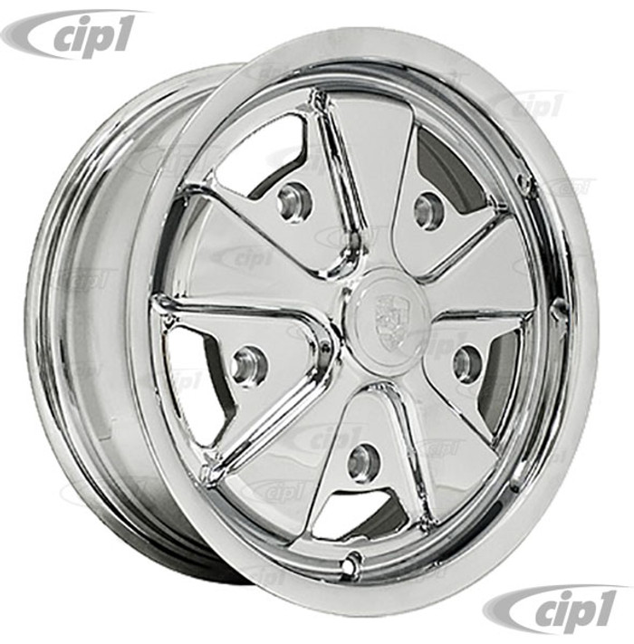 C13-10-1111 - EMPI - FULLY CHROMED 911 STYLE WHEEL - 5.5X15 INCH (4 INCH BACKSPACE) - 5 X 205MM BOLT WHEEL (INCLUDES CAP AND V/STEM) - SOLD EACH
