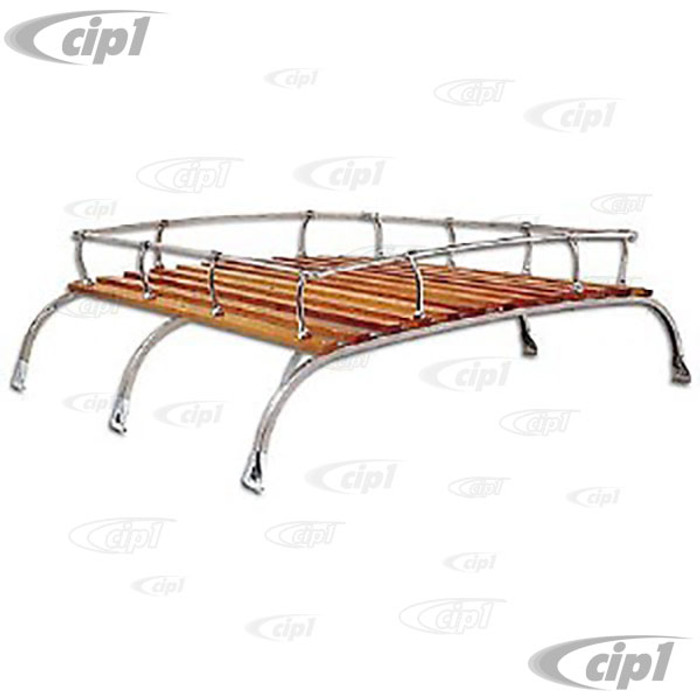 C13-15-2011 - EMPI - VINTAGE STYLE LARGE 3 BOW ROOF RACK - SILVER POWDER COATED WITH QUALITY WOOD SLATS - 46 INCHES LONG - WILL NOT FIT WITH POPTOP OR RAISED ROOF - BUS 52-79 - SOLD EACH