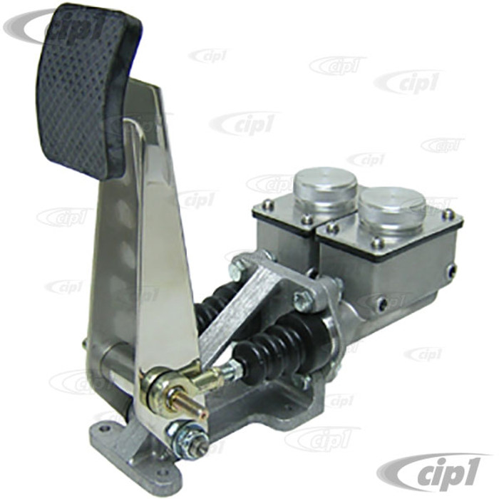 C13-16-2137 - HD 4 WHEEL BRAKE SINGLE PEDAL - WITH DUAL 3/4 IN. LOW SQUARE RESERVOIR - UNPOLISHED