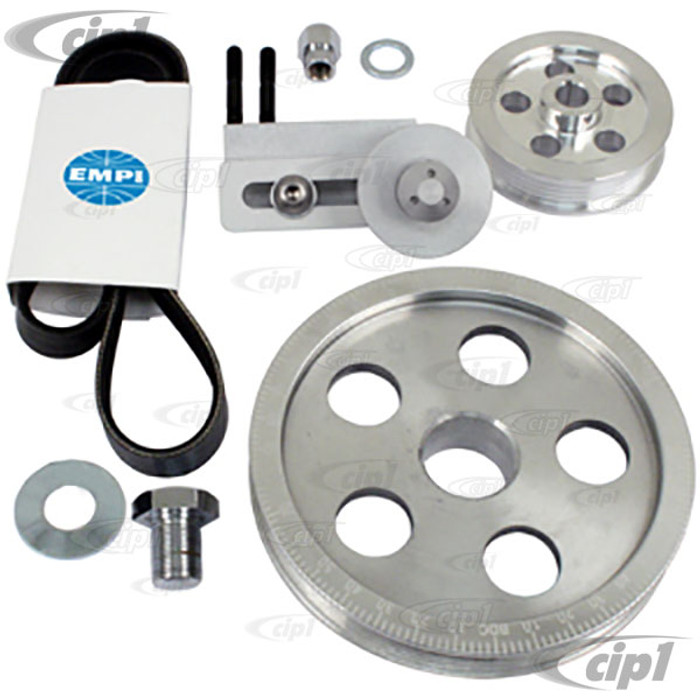 C13-17-2811 - EMPI - SERPENTINE BELT PULLEY SYSTEM - POLISHED  ALUMINUM WITH ETCHED TIMING MARKS - BOLT-ON DESIGN - 1600CC BEETLE STYLE ENGINES - SOLD KIT