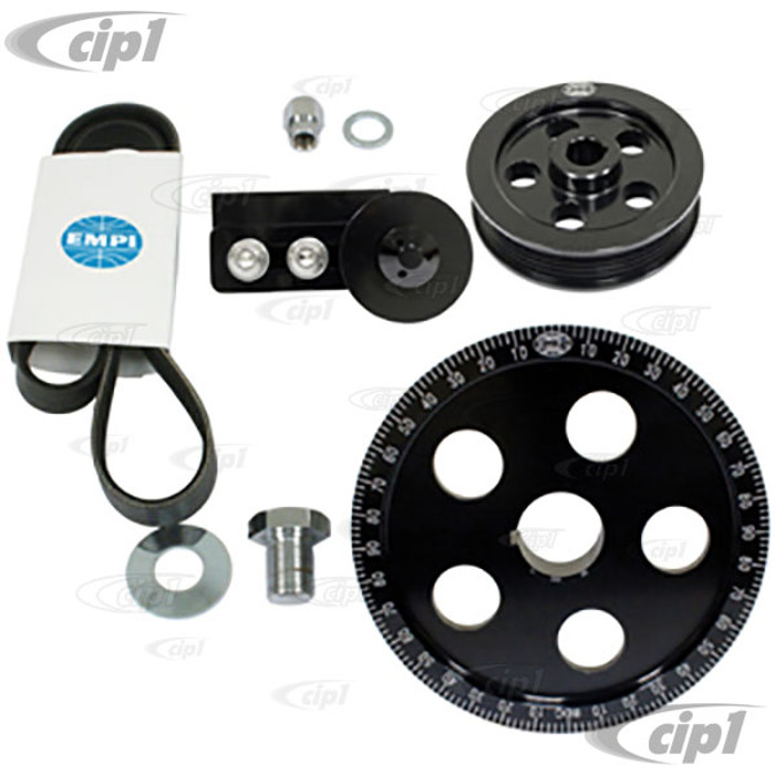 C13-17-2911 - EMPI - SERPENTINE BELT PULLEY SYSTEM - BLACK ANODIZED ALUMINUM WITH ETCHED TIMING MARKS - BOLT-ON DESIGN - 1600CC BEETLE STYLE ENGINES - SOLD KIT