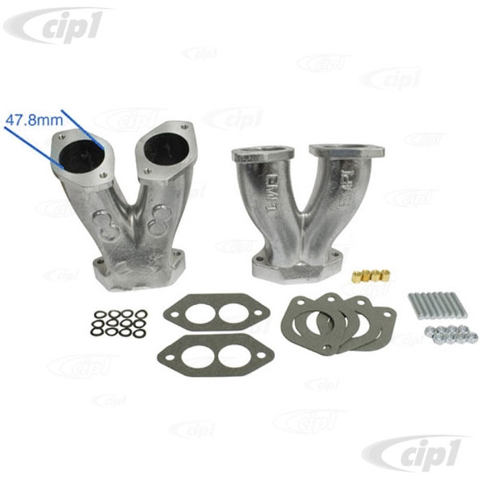 C13-18-1061 - EMPI/BUGPACK - TALL 40-44 HPMX/IDF WEBER STYLE CARB. MANIFOLD KIT - EXTRA THICK FOR PORTING - WITH CAST NOS INJECTION BOSSES - INCLUDED GASKETS AND HARDWARE - 1600CC BEETLE STYLE DUAL PORT ENGINES - SOLD PAIR