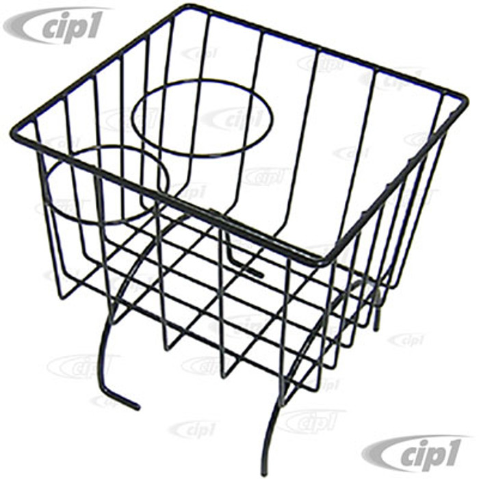 C13-18-1066 - EMPI - BLACK STOW AWAY BASKET AND CUP HOLDER - OVER MIDDLE HUMP (BASKET MEASURES 7-3/8 IN. WIDE X 8-1/4 IN. LONG X 8-1/4 IN. TALL) - ALL BEETLE/GHIA/TYPE-3 - SOLD EACH
