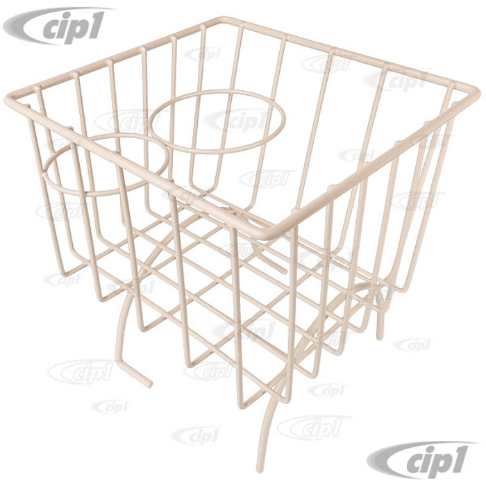 C13-18-1067 - IVORY STOW AWAY BASKET AND CUP HOLDER - OVER MIDDLE HUMP (BASKET MEASURES 7-3/8 IN. WIDE X 8-1/4 IN. LONG X 8-1/4 IN. TALL) - ALL BEETLE/GHIA/TYPE-3 - SOLD EACH
