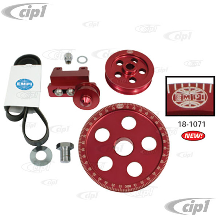 C13-18-1071 - EMPI - SERPENTINE BELT PULLEY SYSTEM - RED ANODIZED ALUMINUM WITH ETCHED TIMING MARKS - BOLT-ON DESIGN - 1600CC BEETLE STYLE ENGINES - SOLD KIT
