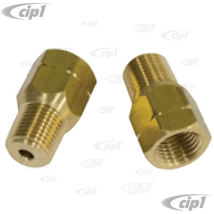 C13-18-1102 - EMPI - CONVERSION BRKE LINE FITTING - MALE 1/8 INCH NPT TO FEMALE 10MM X 1.0 BUBBLE FLARE - SOLD PAIR