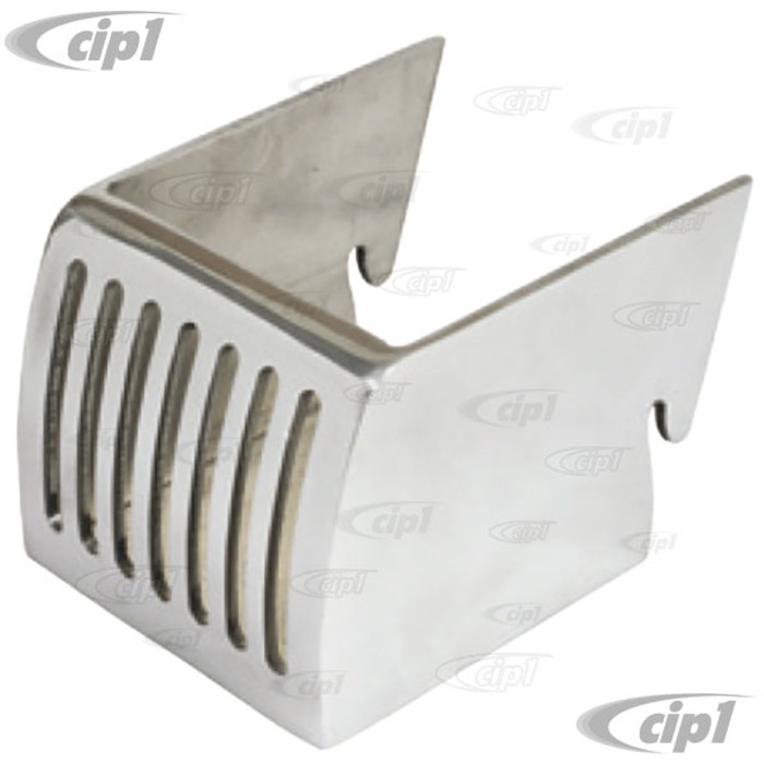 C13-18-1110 - EMPI - POLISHED ALUMINUM DRINK HOLDER - SLIPS INTO DASH SLOTS - 3-7/8 INCH WIDE X 3-1/4 INCH DEEP - BUS 52-67 - SOLD EACH