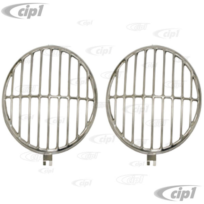 C13-18-1112 - EXCELLENT QUALITY STAINLESS STEEL HEADLIGHT STONE/ROCK GUARDS - FIT BEETLE 46-66 / BUS 55-67 / PORSCHE 356 TO 1966 - SOLD PAIR