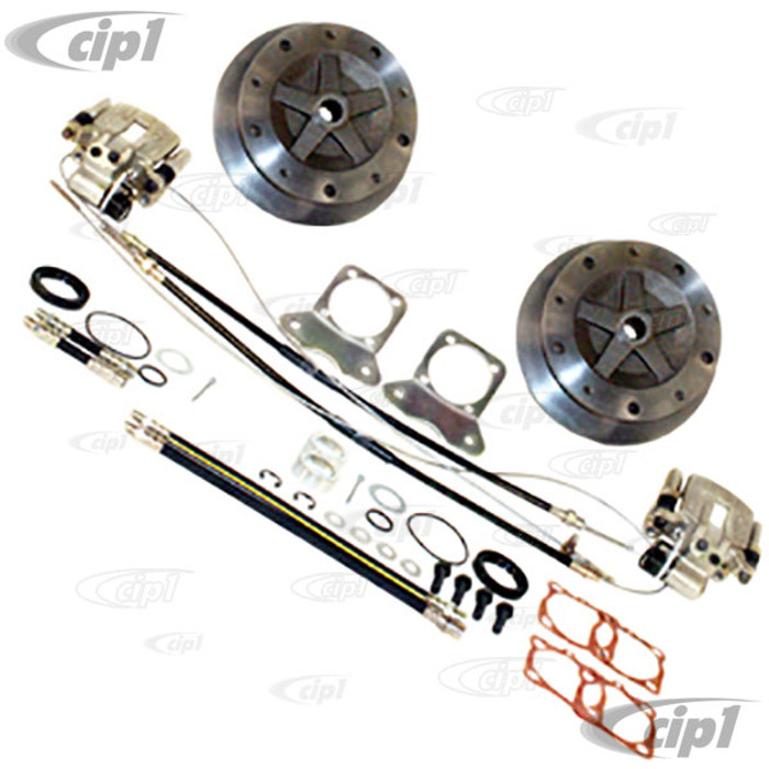 C13-22-2927-F - EMPI - WIDE TRACK REAR DISC BRAKE KIT - 5X205MM - WITH E-BRAKE - HD CAST STEEL MOUNTING BRACKETS - BEETLE IRS 68-72 - BEETLE 1968 SWING-AXLE - (A40)