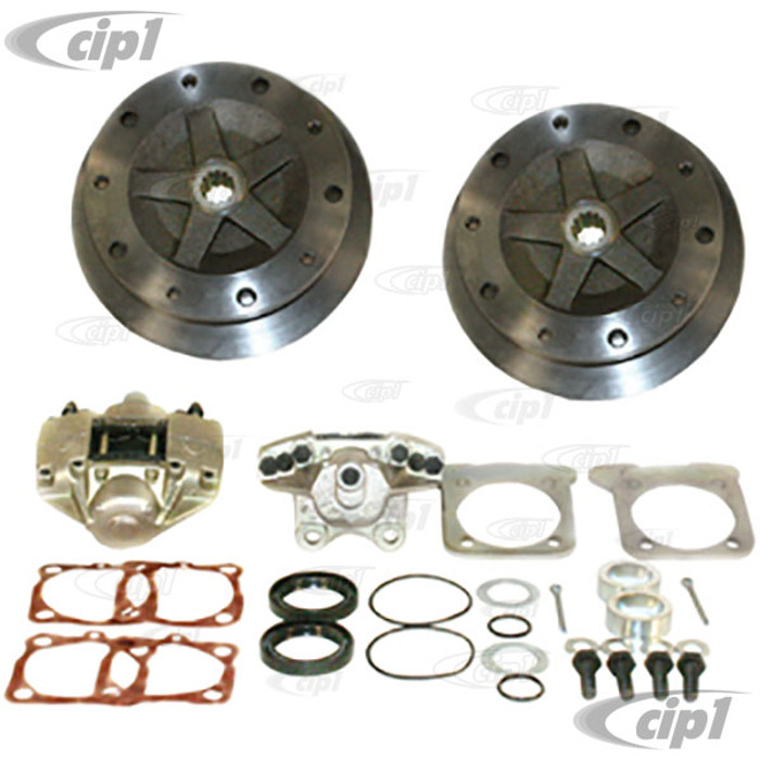 C13-22-2929-F - EMPI - WIDE TRACK REAR DISC BRAKE KIT - 5X205MM - WITHOUT E-BRAKE - HD CAST STEEL MOUNTING BRACKETS - BEETLE IRS 68-72 - BEETLE 1968 SWING-AXLE - (A40)