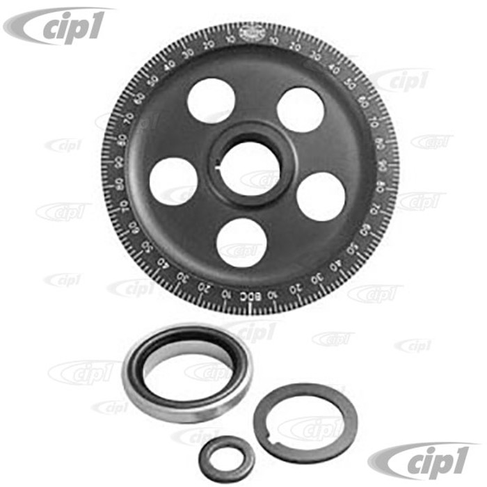 C13-33-1065 - EMPI - STOCK DIAMETER HARD ANODIZED BLACK ALUMINUM LASER ENGRAVED DEGREE PULLEY WITH BOLT-ON SAND SEAL KIT - INCLUDES PULLEY/COLLAR/SEAL/SPACERS - SOLD KIT